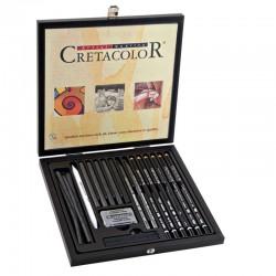 Confezione in legno CretaColor Black Box 20 Strumenti per Disegno e schizzo in nero