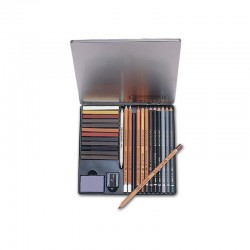 CretaColor Creativo Drawing Set 12 Matite assortite, 12 crete brune con accessori Scatola in Metallo