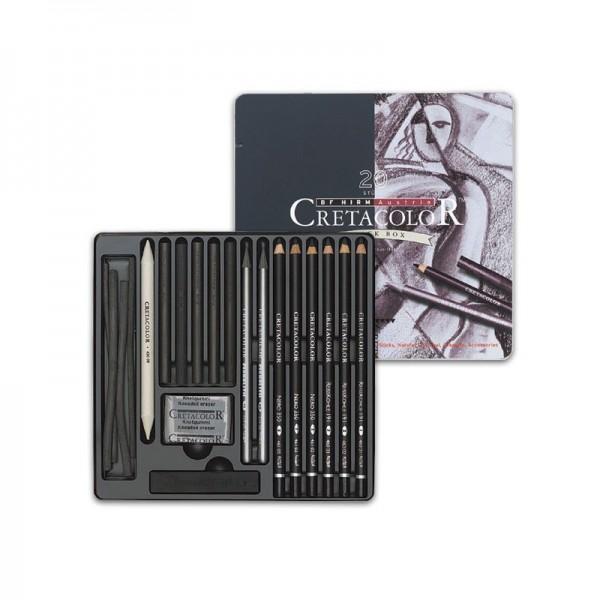 CretaColor Black Box 20 Strumenti per Disegno e schizzo in nero Scatola di metallo
