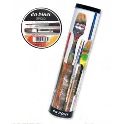 Portapennelli in metallo con 10 Pennelli Sintetici Grigio Da Vinci a manico lungo per olio e acrilico