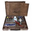 Cassetta in legno con acrilici Polycolor Maimeri 8 tubi da 20 ml, 1 Bianco da 60 ml e accessori