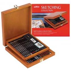 Bellearti-it-Derwent-Sketching-Collection-35-Strumenti-Assortiti-per-il-Disegno-Cassetta-in-legno-massello