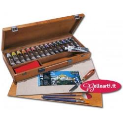 Cassetta in Legno con Colori Acrilici Polycolor Maimeri 15 tubi da 20 ml, 1 Bianco da 60 ml, 3 pennelli sintetici e acce