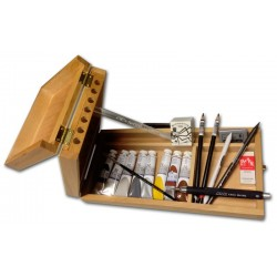 Assortimento del Designer. Cassetta in legno con Tempera Talens, Inchiostro Nero, Grafite, Carboncino e accessori