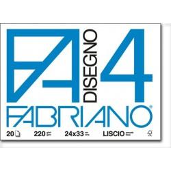 Blocchi da Disegno Fabriano 4 (F4) 20 fogli lisci 220 g/mq 100% Cellulosa F.S.C.