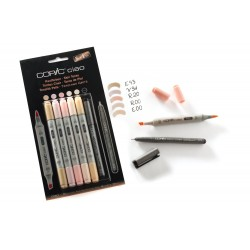 Set 5 Pennarelli Incarnato Copic Ciao Marker e 1 Multi Liner nero 0,3 mm