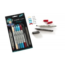 Set 5 Pennarelli Manga 2 Copic Ciao Marker e 1 Multi Liner nero 0,3 mm