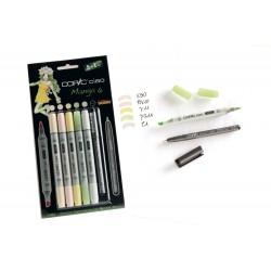 Set 5 Pennarelli Manga 6 Copic Ciao Marker e 1 Multi Liner nero 0,3 mm