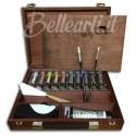 Cassetta in Legno tinta ciliegio Acrilico Maimeri 10 tubi 20 ml, 1 Bianco 75 ml e accessori