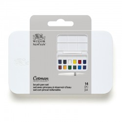 Acquarelli Cotman Winsor&Newton Brush Pen Set: 12 mezzi godet e pennello con serbatoio