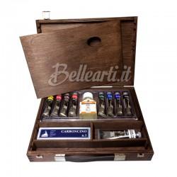 Cassetta in Legno con Colori a Olio Classico Maimeri 8 tubi da 20 ml, 1 bianco da 60 ml e accessori