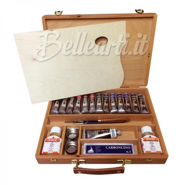 Cassetta Studio Colori a Olio Maimeri Classico 13 tubi da 20 ml e 1 da 60 ml, 2 medium, fusaggine e accessori