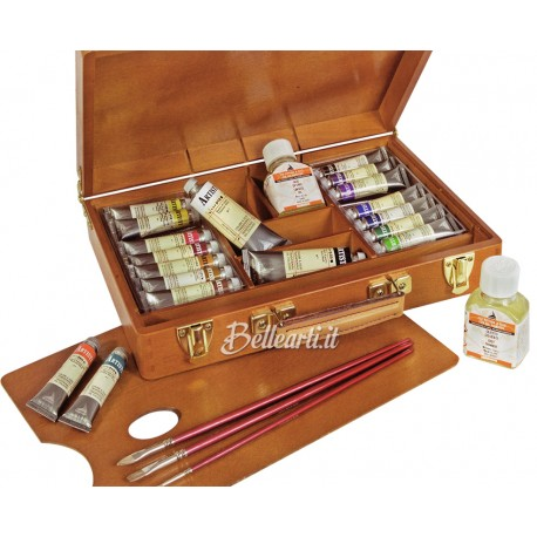 Cassetta in Legno con Colori a Olio Artisti Maimeri 15 tubi da 20 ml, 1 olietto diluente, 3 pennelli e accessori