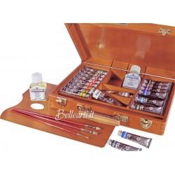 Cassetta in Legno con Colori Acrilici Polycolor Maimeri 16 tubi da 20 ml, 2 tubi da 60 ml e accessori
