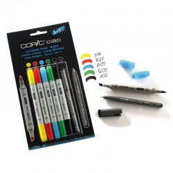 Copic Ciao Marker Colori Brillanti - Set con 5 Pennarelli e 1 Multiliner nero 0,3 mm