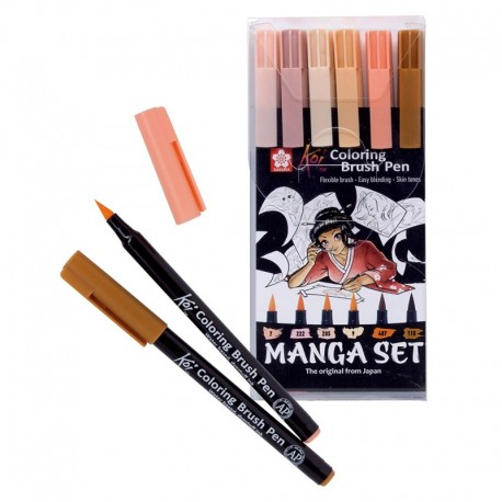 Sakura Koi - Coloring Brush Pen Skin Tones - Set 6 pennarelli incarnato
