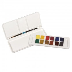 Acquarelli Aquafine Daler Rowney Travel Set - 12 mezzi godet con Pennello tascabile