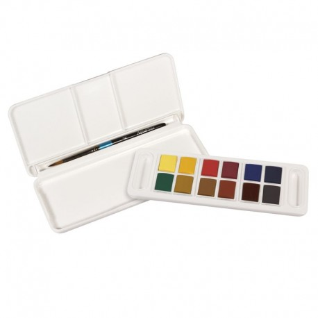 Acquarelli Aquafine Daler Rowney Travel Set: 12 mezzi godet con Pennello Tascabile