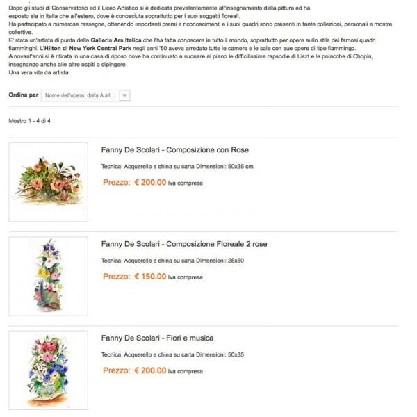 Pacchetto servizi aggiuntivi Artisti Online: Pubblica fino a 10 opere con prezzo e bottone Paypal per l'acquisto immediato