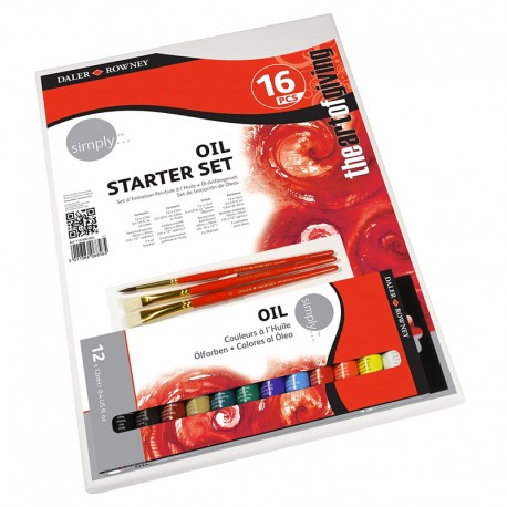 Set per pittura a olio Oil Starter Set Daler Rowney. 12 colori da 12 ml, 3 pennelli e 1 tela