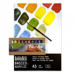 SUPER OFFERTA! Intro set Polycolor 10 tubi da 20 ml, Blocco per acrilici Liquitex 12 fogli A3, pennello in pelo di bue D
