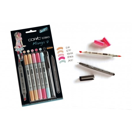 Set 5 Pennarelli Manga 7 Copic Ciao Marker e 1 Multi Liner nero 0,3 mm