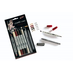 Set 5 Pennarelli Manga 5 Copic Ciao Marker e 1 Multi Liner nero 0,3 mm