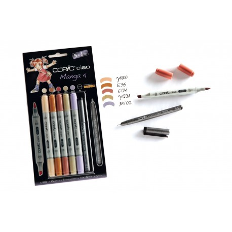 Set 5 Pennarelli Manga 4 Copic Ciao Marker e 1 Multi Liner nero 0,3 mm