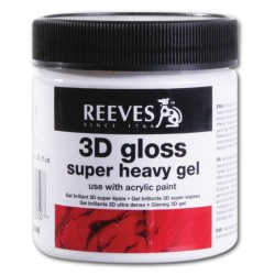 Medium Gel Brillante 3D molto Denso per Acrilico Reeves, vaso in plastica da 237 ml
