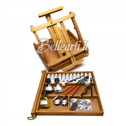 Cassetta Cavalletto con Cassetto laterale 12 tubi Artist Oil Colour W&N 37 ml, 3 medium, 4 pennelli, 1 spatola, e access